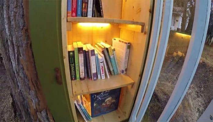 110 illik ağacı oyub kitabxanaya çevirdi