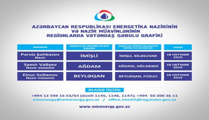 Energetika naziri və nazir müavinləri İmişli, Ağdam və Beyləqanda vətəndaşlarla görüşəcək