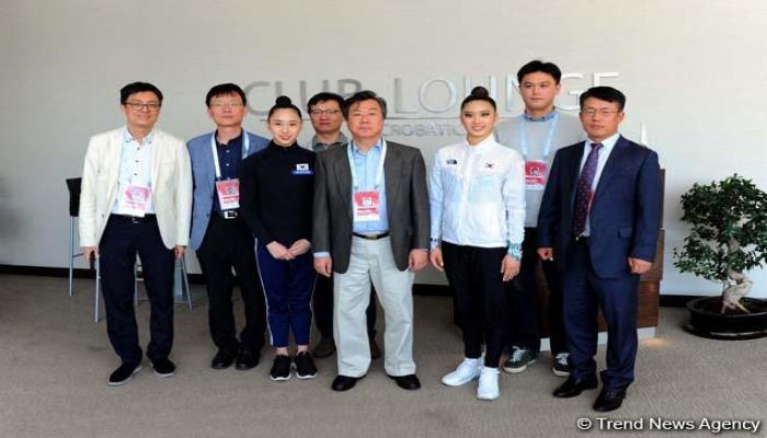 Посол Республики Корея в Азербайджане встретился с спортсменками в рамках Кубка мира по художественной гимнастике
