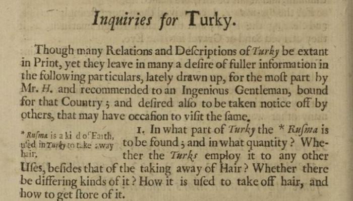 352 Yıl Önce Yazılmış, Türkiye'den Bahseden İlk İngilizce Akademik Makale