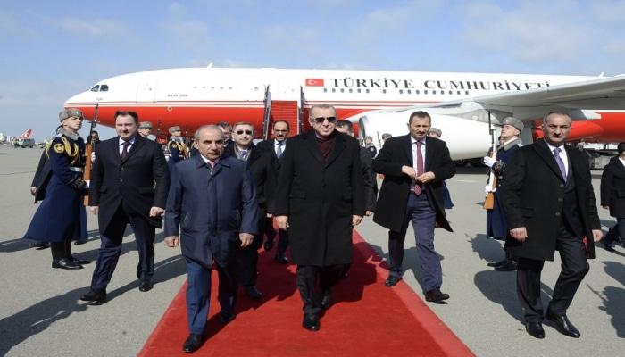 Президент Турции Реджеп Тайип Эрдоган  прибыл с визитом  в Азербайджан