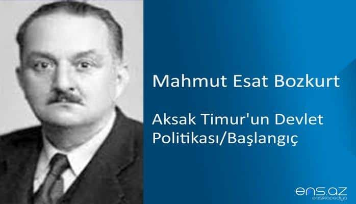 Mahmut Esat Bozkurt - Aksak Timur'un Devlet Politikası/Başlangıç