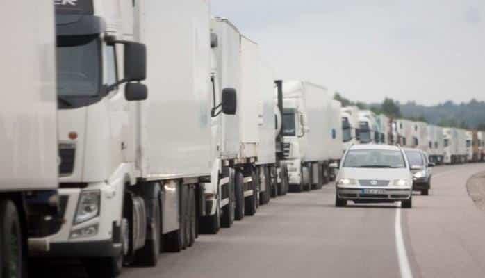 На границе Литвы и Беларуси образовались длинные очереди грузовиков
