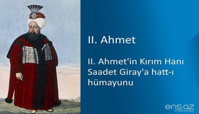II. Ahmet'in Kırım Hanı Saadet Giray'a hatt-ı hümayunu
