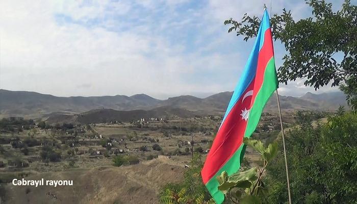 Cəbrayıl şəhərində Azərbaycan Bayrağı dalğalanır