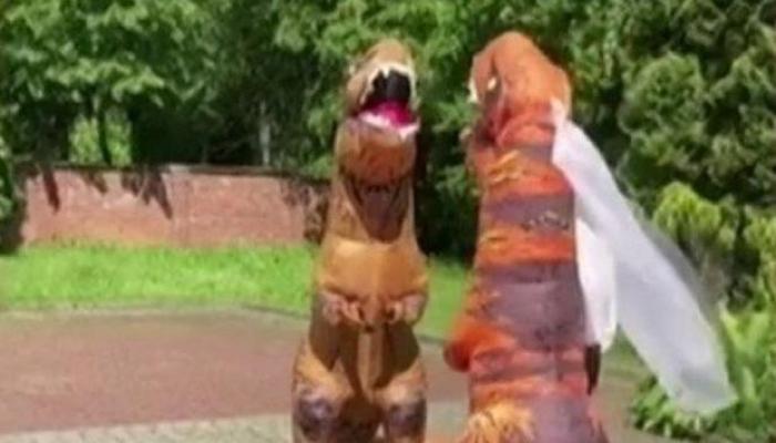 Bəy-gəlin toya dinozavr qiyafəsində gəldi