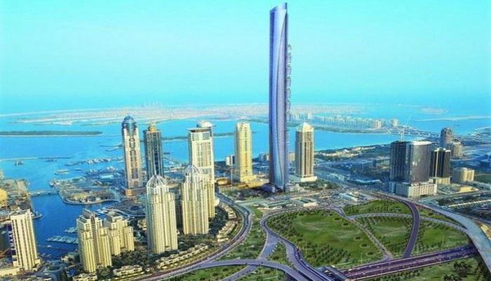 Высочайшее здание в мире в цветах флага Азербайджана
