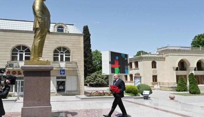 Президент Ильхам Алиев находится в Тертерском районе