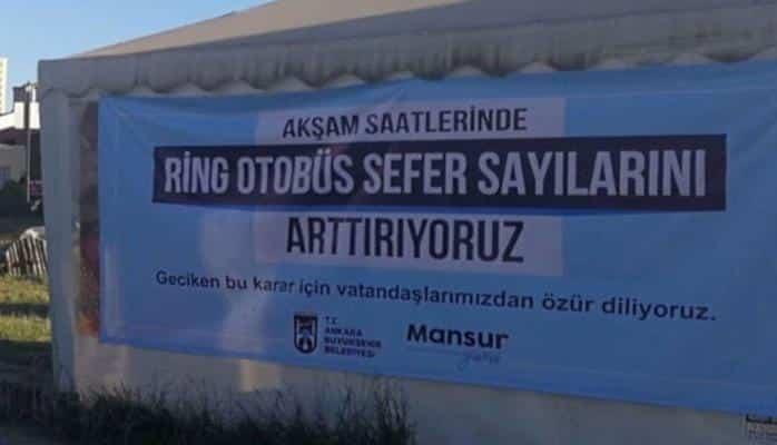 Mansur Yavaş'tan otobüs duraklarına 'özür dileriz' yazısı