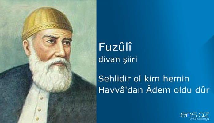 Fuzuli - Sehlidir ol kim hemin Havvadan Adem oldu dür