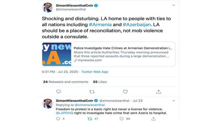 Две крупнейшие еврейские организации осудили нападения армян на азербайджанцев в Лос-Анджелесе