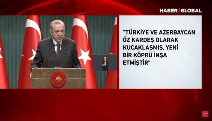 """Ərdoğan: """"Türkiyə tarixi bir dönüm nöqtəsində azərbaycanlı qardaşlarının yanında yer alıb"""""""