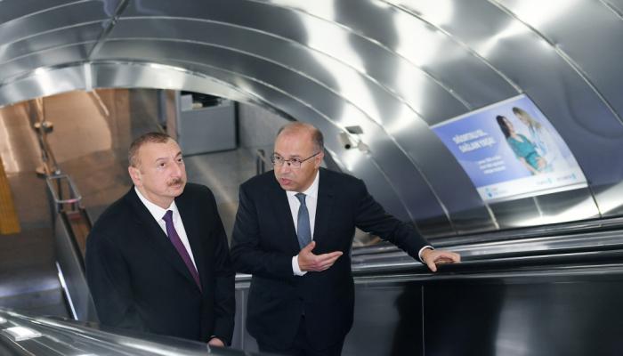 """İlham Əliyev """"Xətai"""" metrostansiyasının açılışında"""