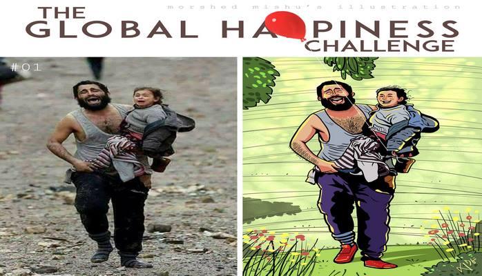 Мир без насилия: художник из Бангладеш превращает душераздирающие фотографии в счастливые