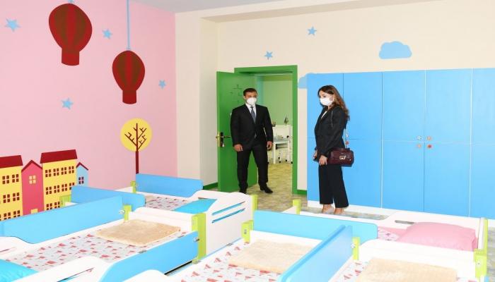 Первый вице-президент Мехрибан Алиева приняла участие в открытии нового детского сада в поселке Шаган