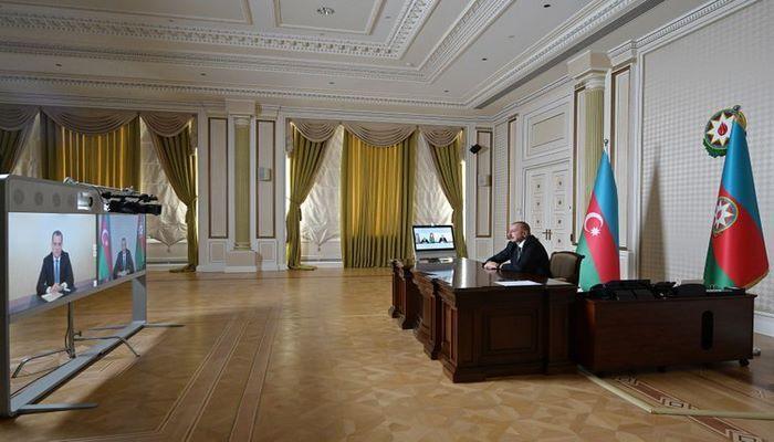 Президент Ильхам Алиев принял в формате видеоконференции Джейхуна Байрамова в связи с назначением главой МИД