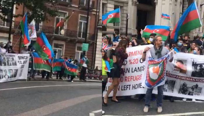 Проживающие в Великобритании азербайджанцы проводят акцию протеста против армянской агрессии