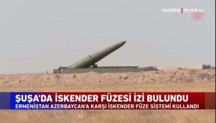 """Şuşada """"İskəndər"""" raketinin qalıqlarının tapılması xəbəri Türkiyə telekanalında"""