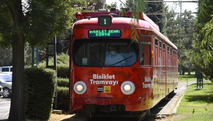 Türkiye'de bir ilk! Konya'da bisiklet tramvayı raylarda