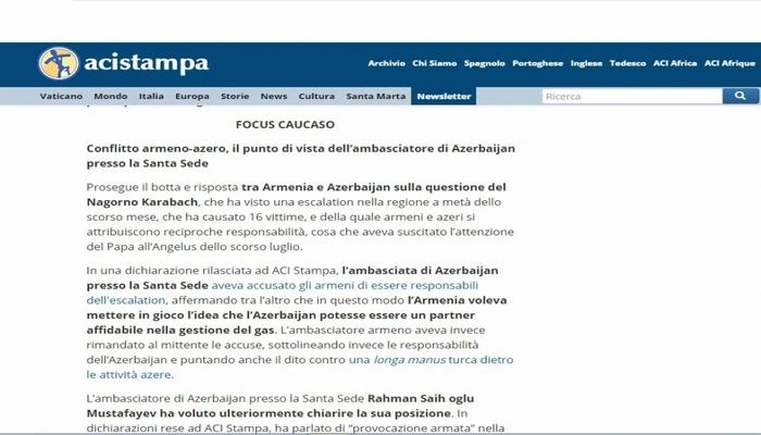 Vatikanın internet portallarında Azərbaycan səfirinin müsahibəsi dərc olunub